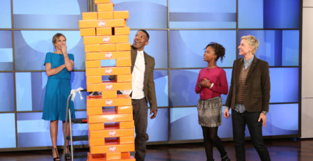 giant jenga with ellen